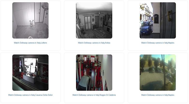 Schermata del sito di Insecam, con diverse anteprime di riprese video