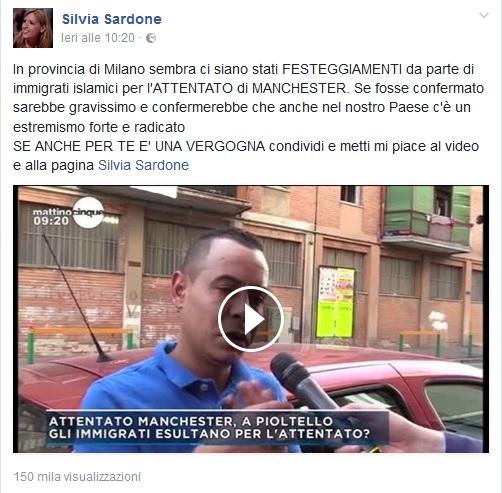 Attentato di Manchester, post FB di Silvia Sardone: festeggiamenti in un bar di Milano?