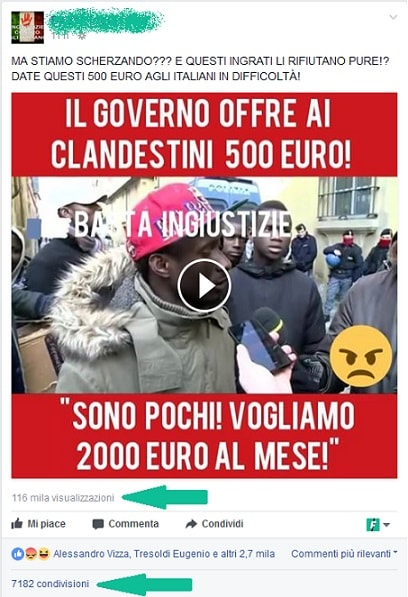 fake news 500€ ai clandestini
